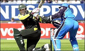 Inzamam-ul-Haq plays a cut shot past Alec Stewart