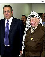 CIA chief George Tenet with Yasser Arafat in Ramallah