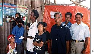 East Timor refugees wait to register their intentions