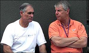 Hagelauer, sitting on the right of Davis Cup captain Roger Taylor, has a blunt assesment of the UK's problems