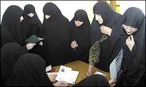 Women voting in Iranian elections in Qom