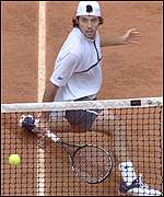Sebastien Grosjean impresses at the net