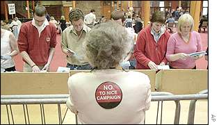 A No supporter watches as votes are counted in the Irish referendum