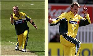Warne took thre wickets to Lee's one