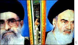 Current Iran spiritual leader Ayatollah Khamenei (L) and first Ayatollah Khomenei