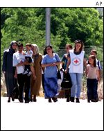 Macedonia refugees being received by Red Cross workers in Kosovo