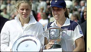 Capraiti and Clijsters with their trophies