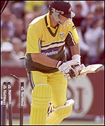 Mark Waugh is bowled by Cork