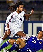 France's Christian Karembeu and Japan's Shinji Ono