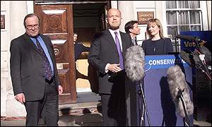 William Hague resigns outside Conservative HQ