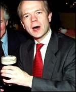 William Hague enjoys a pint