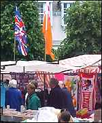 A market stall in Newtownards flies an Orange Order flag