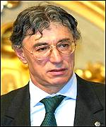 Northern League leader and new Minister of Reform and Devolution Umberto Bossi during his swearing-in in Rome