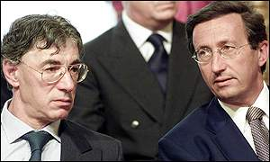 Deputy Prime Minister Gianfranco Fini, right, with Reforms and Devolution Minister Umberto Bossi