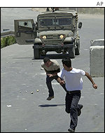 Violence in the Ramallah in the West Bank