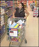 A shopper in Sainsburys