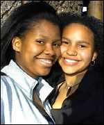 Teenagers Maphiri Malebe (left) and Nobunye Levin