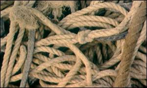 close up of rope pile