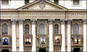 St Peter's Basilica in Vatican City hanging with the pictures of five new saints