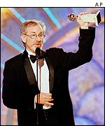 Steven Spielberg collecting a Golden Globe in 1999