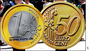 Larger-than-life euro coins