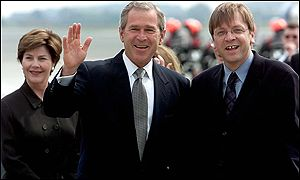 George Bush and Guy Verhofstadt
