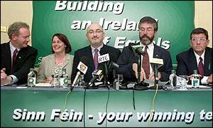 Sinn Fein MPs at a press conference in Dublin