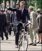 Tony Blair cycling in Amsterdam