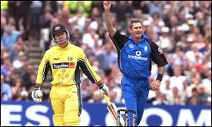 Andy Caddick celebrates his dismissal of Ricky Ponting