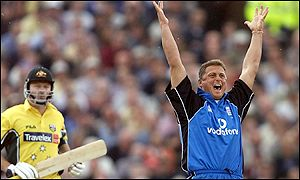Darren Gough appeals successfully as Steve Waugh is gien out lbw for 64