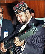 The late Crown Prince Dipendra with gun