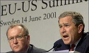 President George W. Bush and Swedish leader Goeran Persson