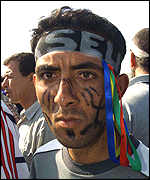 Demonstrator painted with the Berber symbol