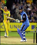 Ben Hollioake is stumped off Shane Warne for a duck