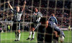 Alan Shearer celebrates another goal