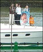 Pro-life activists try to distract attention from a news conference arranged by the Aurora abortion ship