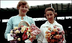 Christine Truman with Angela Mortimer at the 1961 Wimbledon Championships