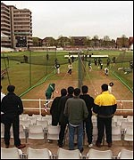 Fans watch a practice session at Trent Bridge