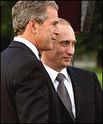 Bush and Putin in Ljubljana, Slovenia