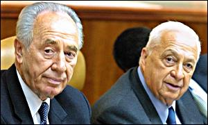 Israeli Foreign Minister Shimon Peres and Prime Minister Ariel Sharon