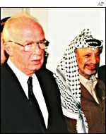 The late Israeli Prime Minister Yitzhak Rabin and Palestinian leader Yasser Arafat