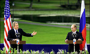 Bush and Putin in Slovenia