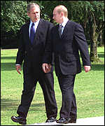 Bush and Putin on a walk in Slovenia
