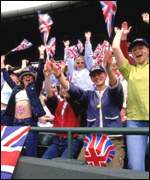 British fans cheer at the Davis Cup