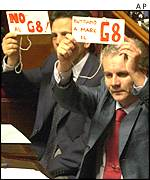 Communist senators with anti-G8 signs