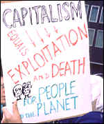 Anti-capitalist protestor in London