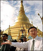 Thaksin at the Shwedagon Pagoda temple