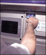 cash point being used