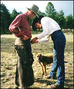 Tim Whewell fitted for chaps, New Mexico, July 98
