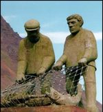 Statue of Icelandic fishermen